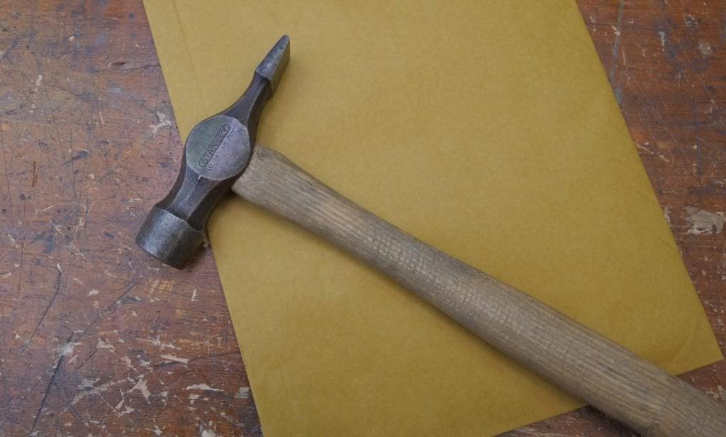 hammer on workbench